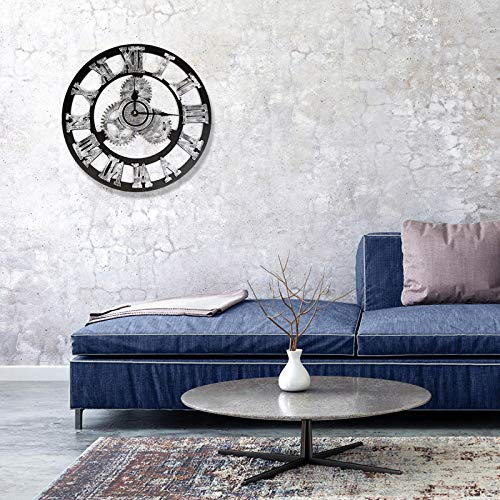 Diadia Wall Clock Industrial Style Vintage Clock European Steampunk Gear Wall Home Decoration Retro Home Kitchen Room Decor (Silver, L)