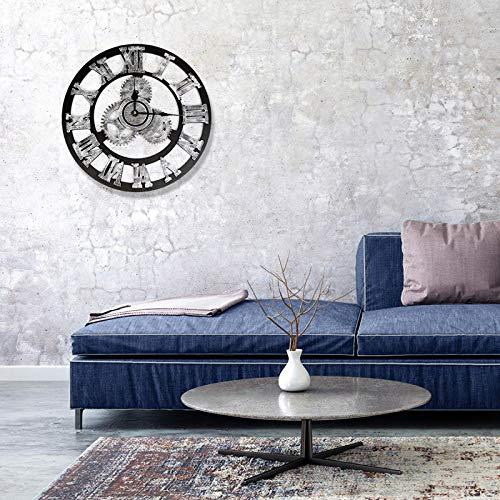 Vintage Gear Clock, 15.75inch Industrial Style European Steampunk Wall Home Decoration(Silver1)