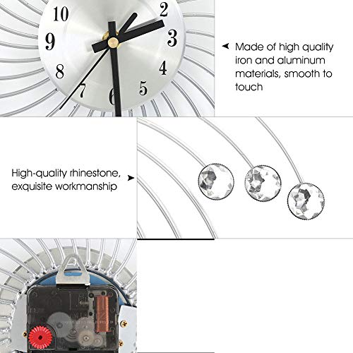 SANON Sunburst Wall Clock, Sparkling Bling Metallic Silver Flower-Shaped Wall Clock for Living Room Office 3D Removable Modern Creative Decoration