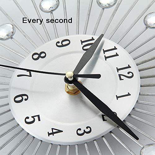 JYDHBDA Crystal Wall Clock, 12.97inch/33cm Handcrafted Design Large Diamante Beaded Crystal Jeweled Sunburst Silver Silent Metal Art Wall Clock, Vintage Wall Clock for Living Room Decoration
