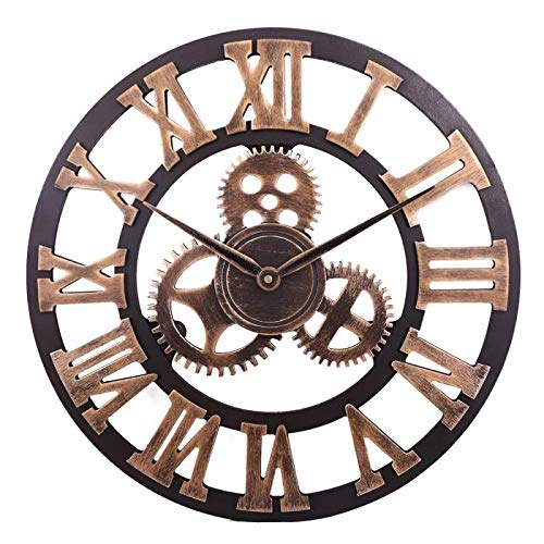"""DORBOKER 16"""" Premium Wall Clock - Large 3D Retro Rustic Country Decorative Big Wood Vintage Steampunk Industrial Wall Clocks Decor for House Living Room (40CM Gear Gold)"""