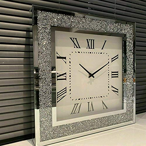 Silver Crushed Square Crystal Modern Roman Wall Clock Sparkle Diamante 47 x 47cm