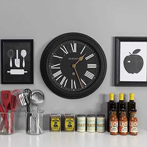 NEWGATE ® Chocolate Shop Wall Clock - Roman Numeral wall clock - HWD 50 x 50 x 6.5 cm (Black/Black Dial)