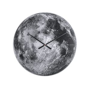 Karlsson Moon Glass Wall Clock with Sweep Movement, Black