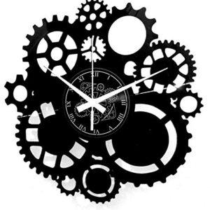 Instant Karma Clocks Vinyl Wall Clock Gears Gothic Steampunk Design Handmade Decor Gift, Black