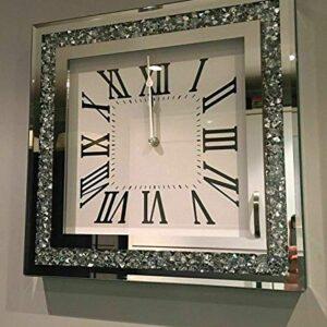 home stuff LOOSE DIAMANTE MIRRORED WALL CLOCK CRUSHED JEWEL ROMAN NUMBER GLASS CLOCK 35CM