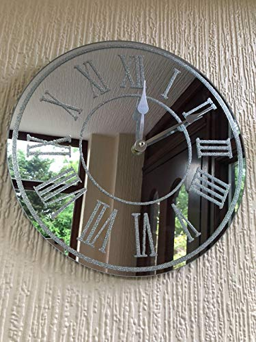 Round SILVER SPARKLE GLITTER MIRRORED WALL CLOCK ROMAN NUMBER GLASS WALL CLOCK NEW