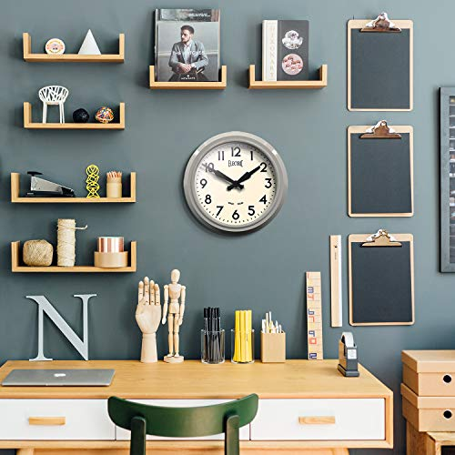 NEWGATE® The Electric Vintage Quality Round Metal Wall Clock in a Gloss Colour Finish With Clear Cream Arabic Dial & Black Hands (Grey)