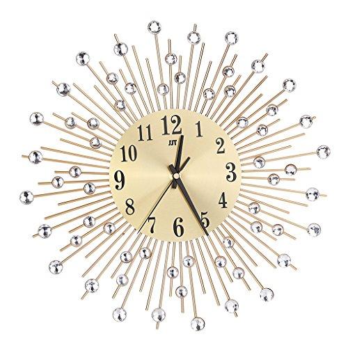 Sharplace Modern Diamante Metal Wall Clock Sunburst Design Silent Non-ticking Home Decor Perfect Gift - Gold, as described