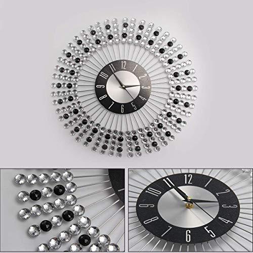 KingSaid 43cm Clear Black Diamante Beaded Jeweled Wall Clock - Crystal Bling Round Wall Clock
