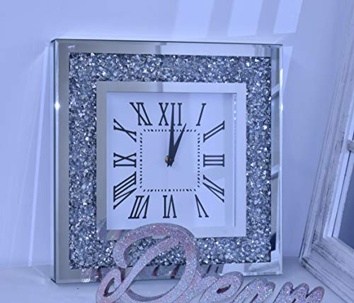 DEENZ Loose Diamante Silent Wall Clock Elegant Luxury Diamond Crystal Mirror Crushed Jewel Roman Wall Clock Silent For Home Office Living Room Bedroom Decoration-35X35cm silver