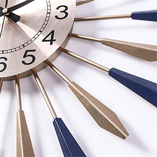 Sunburst Decor Silent Clocks, Fashion 3D Metal Star Burst Wall Clock, Silent Non Ticking Modern Quartz Decor Wall Clock, Large Living Room Wall Watches, Blue Gold,60cm/23.6'