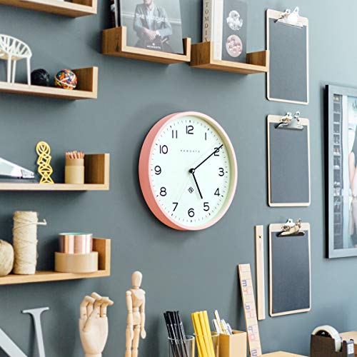 NEWGATE® Echo Number Three | A modern wall clock with a minimalist graphic dial and a contemporary straight-cut case. (Pink)