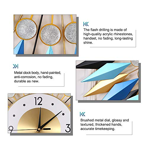 """KINBEDY Large Sunburst Big Fancy Decorative Clock with Silent Movement 9.5"""" Dial Luxury Crystal Bohemian Style Metal Modern Wall Clock for Living Room, Bedroom, Office Space. Blue Mandala."""