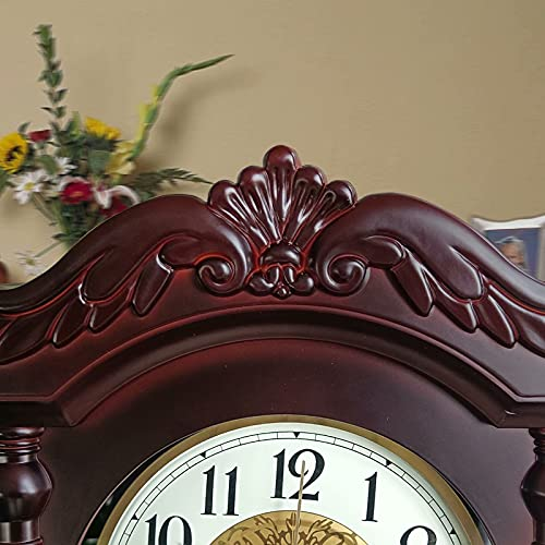 Wall clock, grandfather clock, old-fashioned pendulum clock, silent living room decoration clock, pendulum wall clock battery-powered, used for dining room, kitchen, office and home decoration