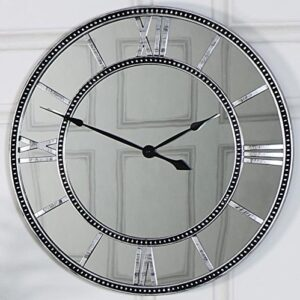 Melody Maison Silver Mirrored Skeleton Wall Clock