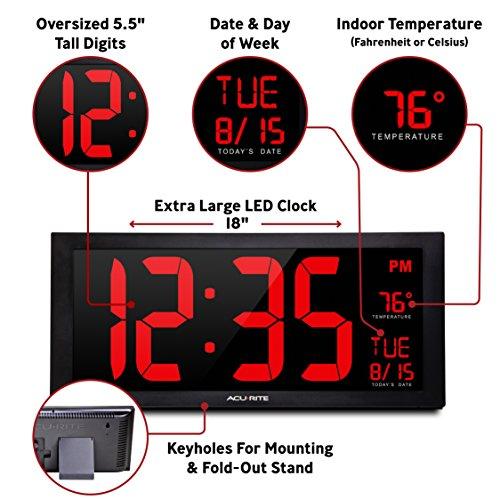 Acu-Rite AcuRite 75100C 18-Inch Large Led Clock with Indoor Temperature, Black