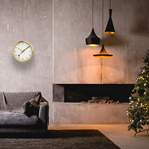 Mondaine, Wall Clock, 25 CM, Gold Clock for Living Room and Kitchen, A990.CLOCK.17SBG