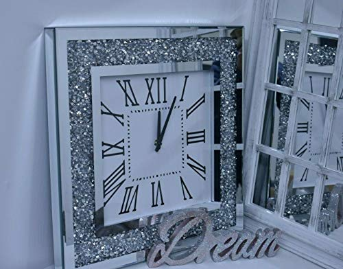 Deenz Ex Large 60cm Square Crushed Jewel Mirror Wall Clock Black Hands Roman Diamante Black Hands Silver Eye Catching Home Décor