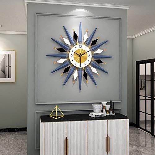 Large Metal Clocks Sunburst Big Fancy Decorative Clock with Silent Movement Luxury Bohemian Style Modern Wall Clock Art for Living Room, Bedroom, Office Decor -Blue