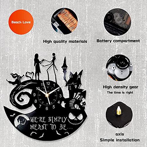 "Beach Love Vinyl Wall Clock Jack and Sally Skellington ,LED Clocks 12"" The Nightmare Before Christmas 7 Color Retro Wall Clock, Xmas Gift for Kids Disney Wall Clock Handmade Decor"