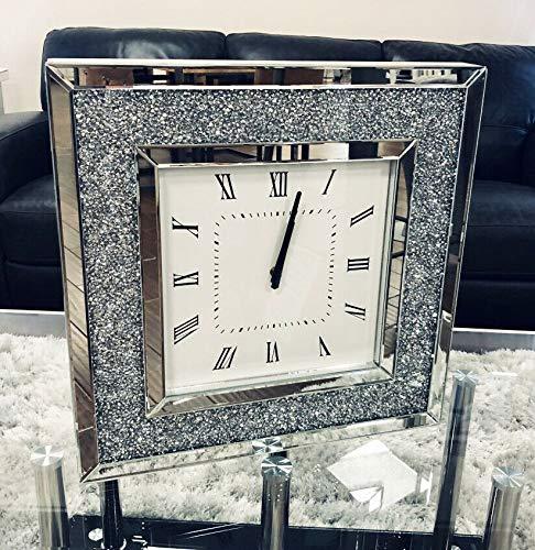 Sassy Home CD090 Crush Diamante Crystal Mirrored Square Wall Clock, one Colour, 50 x 50 x 4.5cm